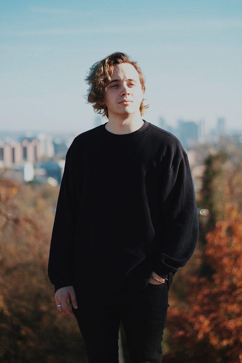 man in black sweatshirt
