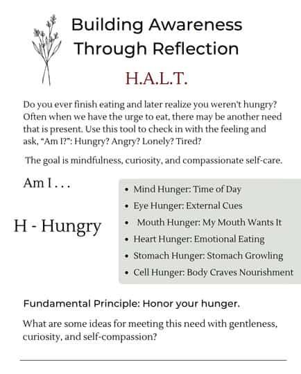 HALT pdf downloadable worksheet